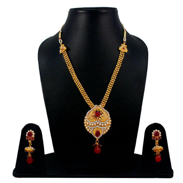 Maroon Stones Adorned Golden Necklace Set For Women