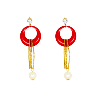Golden String Fashion Earring In Red With Dangling Pearl