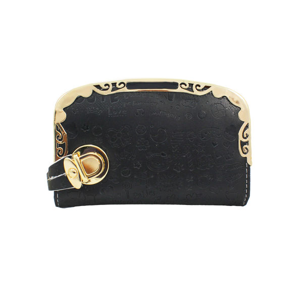 Black Wallet With Golden Frame For Women