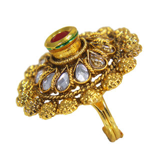 Gold Tone Red And White Kundan Adorned Ring, adjustable