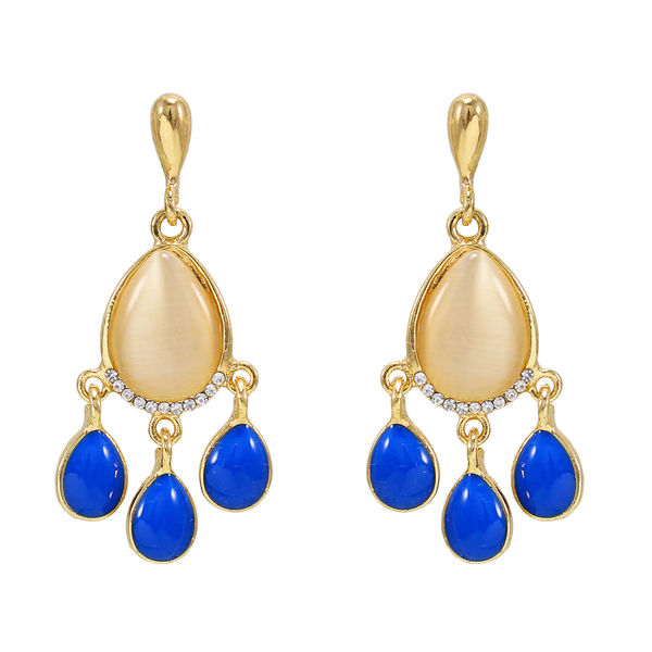 Gold Tone Fashion Earrings With Dangling Blue Stones
