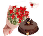 Flora Online Valentine Gift - Red Roses Chocolate Cake