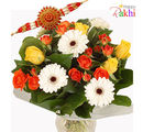 Flora Online Mixed Bouquet Rakhi With Flowers