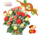 Flora Online Mix Roses With Rakhi Rakhi With Flowers