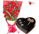Flora Online Valentine Gift - Roses with Heart shape cake