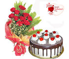 Flora Online Valentine Gift - Red Roses With Blackforest Cake