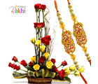 Flora Online Special Basket Rakhi With Flowers