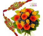 Flora Online Bright N Beautiful Rakhi With Flowers