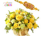 Flora Online Sunshine Basket Rakhi With Flowers
