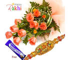 Flora Online Orange Burst Rakhi With Flowers