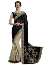 Panchi Embroidered Georgette And Net Bollywood Saree, black and beige
