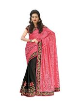 Panchi Embroidered Border Work Brasso Saree, pink