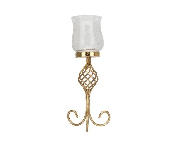 Curl Small Cup Candle Holder- @home By Nilkamal, Gold, White