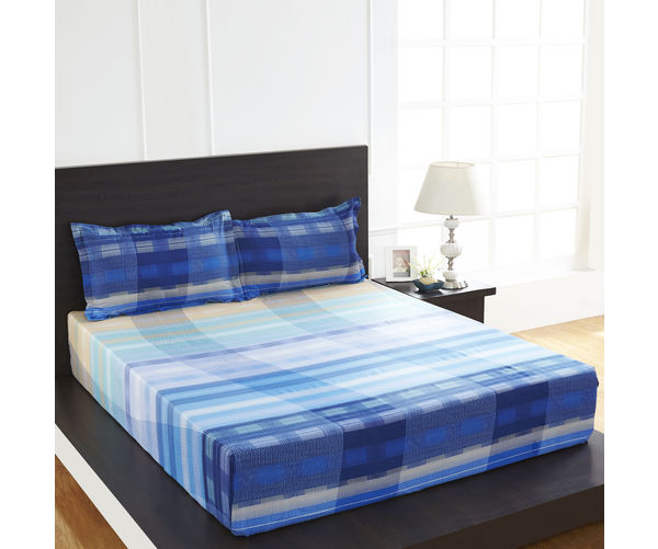 Arcade Wave Double Bed Sheet - @home By Nilkamal, Turq