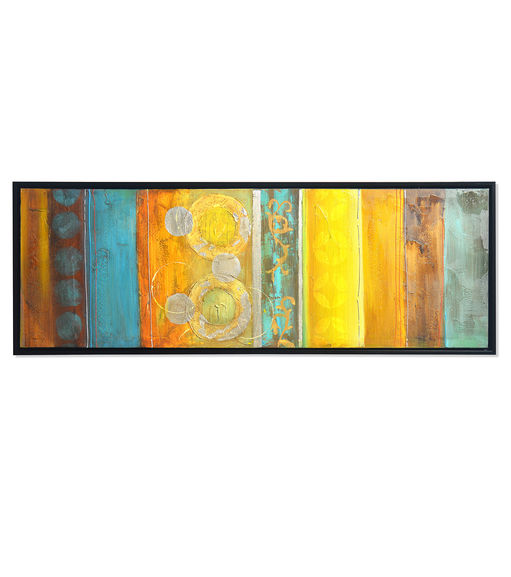 Fabric Winter Picture Painting 50 x 150 - @home By Nilkamal, Yellow & Grey