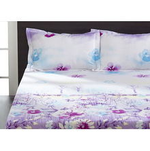 Seasons Floral Double Bed Sheet - @home By Nilkamal, Light Purple