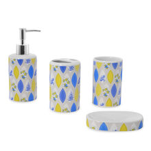 Floral Bath Accessory Set - @home by Nilkamal, Blue