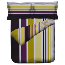 Stripes Double Bed Sheet - @home Nilkamal,  purple