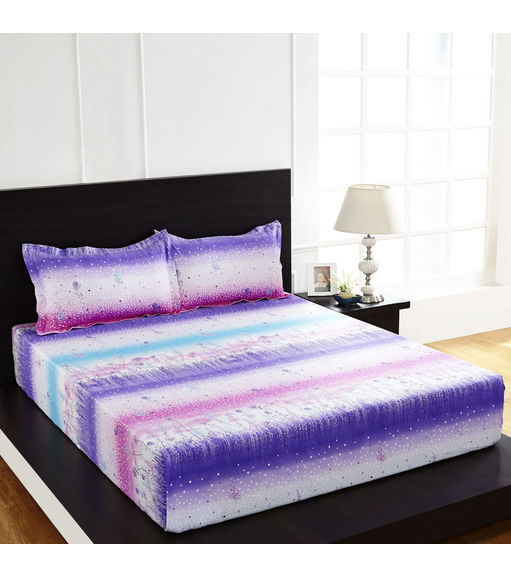 Arcade Floral Double Bed Sheet - @home By Nilkamal, Light Purple
