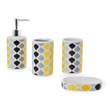 Ogee Bath Accessory Set - @home by Nilkamal, Yellow