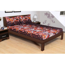 254'x274' Rivera Floral Double Bedsheet - @home By Nilkamal, Brown