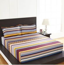 Arcade Stripe Double Bed Sheet - @home By Nilkamal, Brown