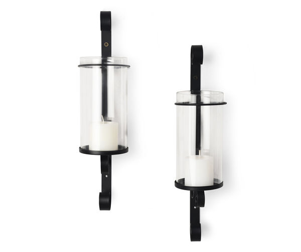 Nouveau Wall Candle Stand 2 Pieces- @home By Nilkamal, Black