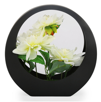 White Chrysnthemum Potted Plant in Black Red Frame - @home by Nilkamal