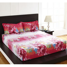Arcade Floral Double Bed Sheet - @home By Nilkamal, Pink