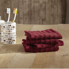 4 Piece Ribbed Face Towel - @home Nilkamal,  maroon