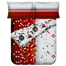 Pixel Double Bed Sheet - @home Nilkamal,  red