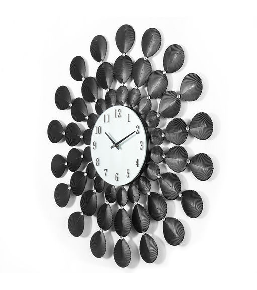 Feather Wall Clock - @home By Nilkamal, Black