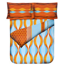 Wave Double Bed Sheet - @home Nilkamal,  orange