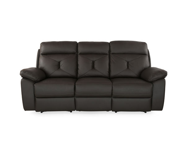Ace 3 Seater Sofa with 2 Manual Recliners - @home By Nilkamal, Dark Brown