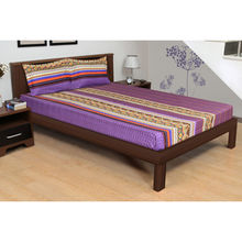 254'x274' Rivera Ethnicstrp Double Bedsheet - @home By Nilkamal, Purple