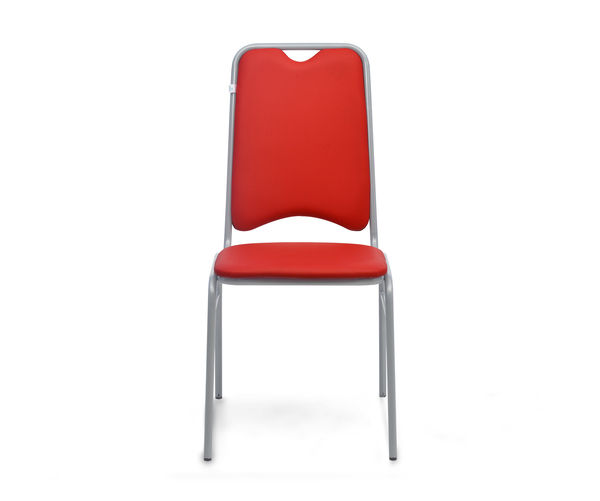 Contract 10 Without Arm PVC Chair - @home By Nilkamal,  red