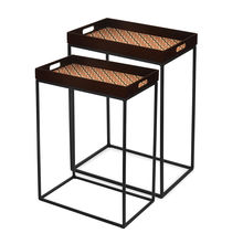 Digi Nest Table Set Of 2 - @home By Nilkamal, Brown