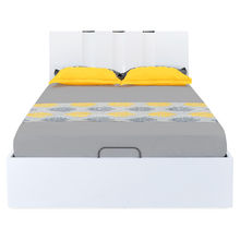 Scoop High Gloss King Bed with Storage - @home By Nilkamal, White