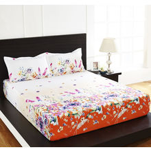 Arcade Floral Double Bed Sheet - @home By Nilkamal, Yellow