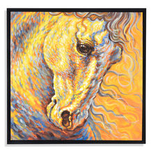Horse Winter Picture Painting 80 x 80 - @home By Nilkamal, Yellow & Grey