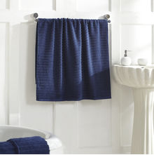 Ribbed Bath Towel - @home Nilkamal,  blue