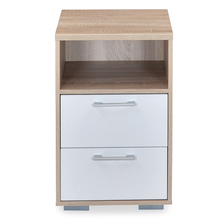 Marilyn High Gloss Night Stand - @home By Nilkamal, Oak and White