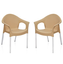 Nilkamal Novella 09 with Arm & without Cushion Chair Set of 2, Biscuit