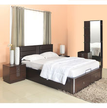 Triumph Queen Size Bedroom Set - @home Nilkamal,  dark walnut