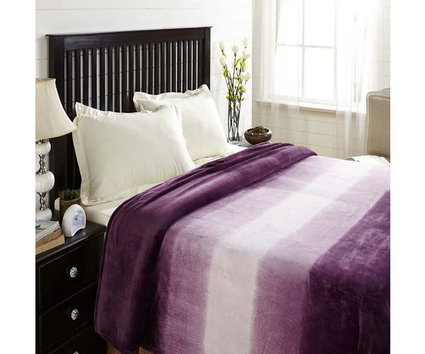 Flannel Double Blanket - @home Nilkamal,  purple