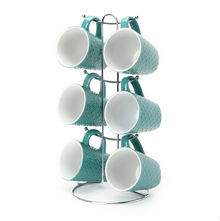 Elite Stoneware Tea Set of 6 with Stand - @home by Nilkamal, Sea Green