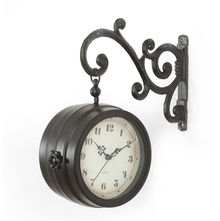 Elegant Station Clock - @home by Nilkamal, Black
