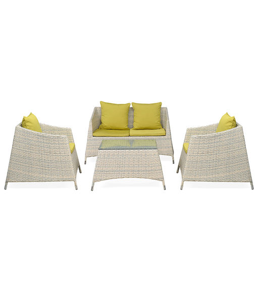 Villa 2+ 1+ 1 Sofa Set - @home By Nilkamal, White With Olive