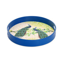 Peacock Wood Round Serving Tray - @home by Nilkamal