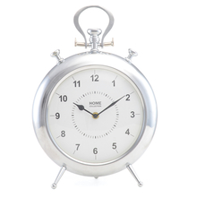 Alloy Table Clock - @home by Nilkamal, White Silver